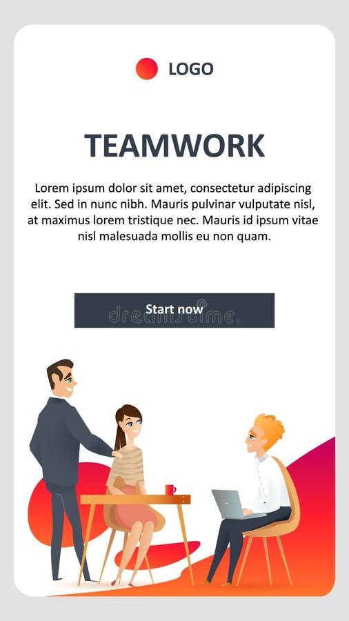 El trabajo en equipo en Coworking moderno compartió el espacio abierto stock de ilustración