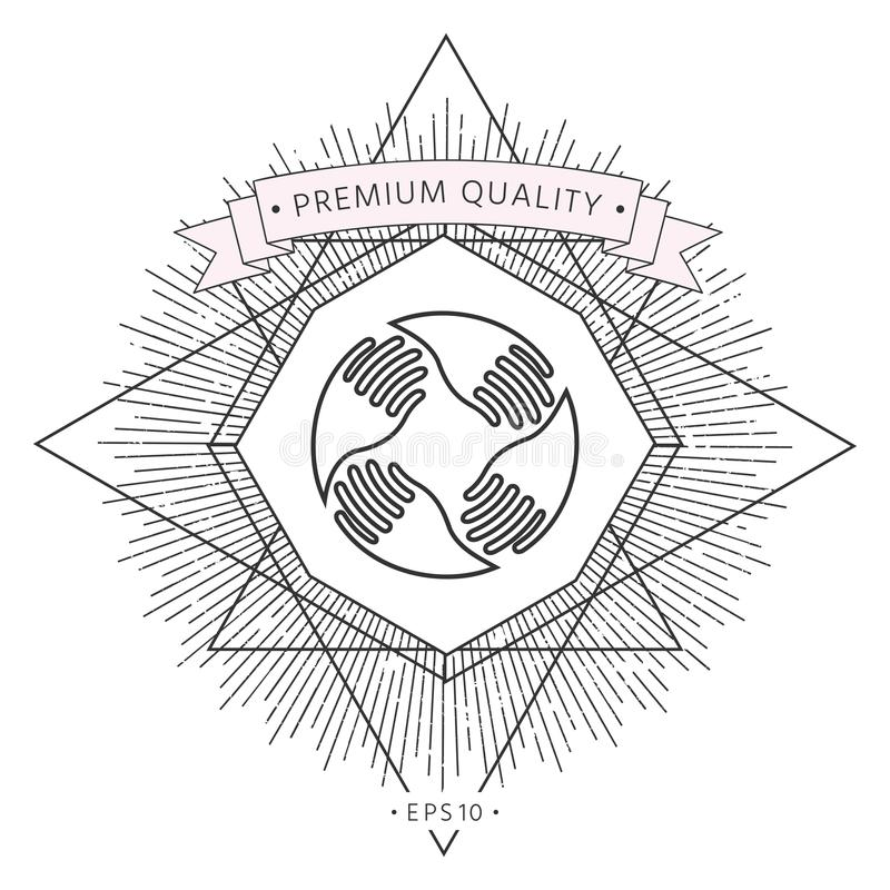 El trabajo en equipo da insignia Conexión humana Línea icono ilustración del vector