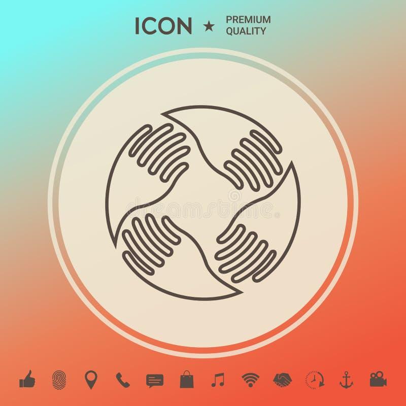El trabajo en equipo da insignia Conexión humana Línea icono stock de ilustración