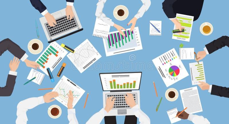El trabajo en equipo de la gestión de negocio discute el resolver de concepto de la reunión de reflexión libre illustration
