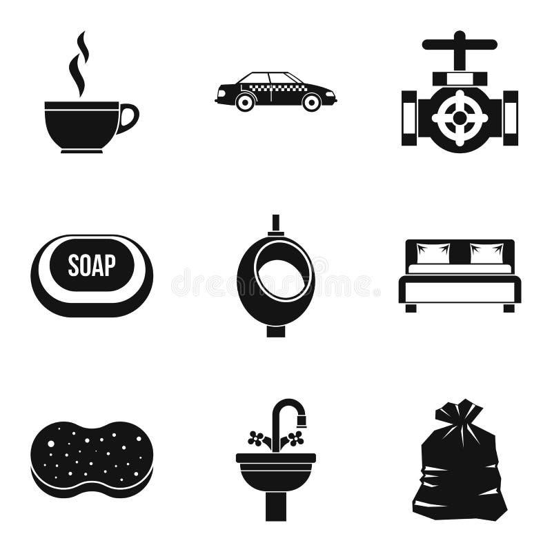 El trabajo en iconos del hotel fijó, estilo simple libre illustration