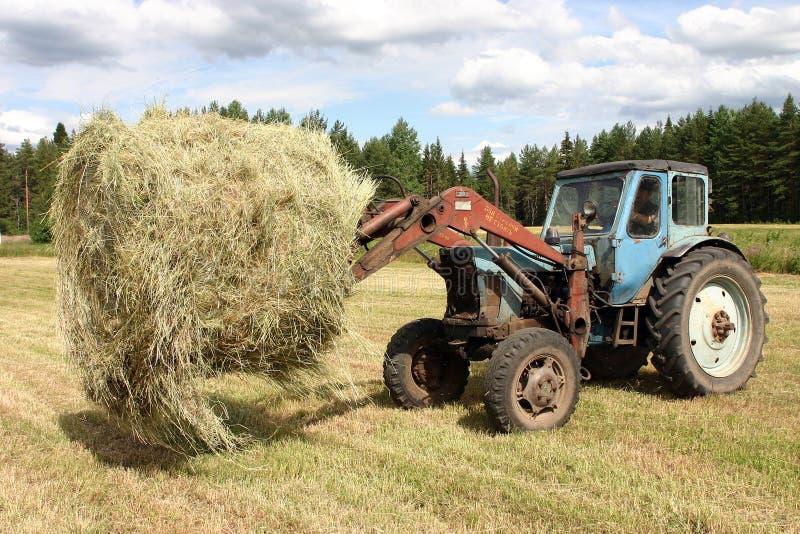 El tractor de granja ruso se mueve alrededor de las balas de heno imagen de archivo