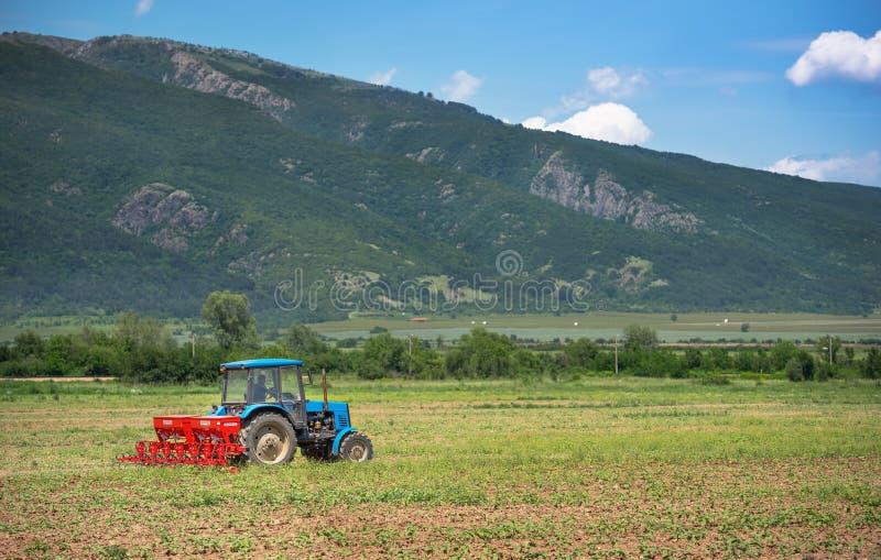 El tractor funciona en campo fotos de archivo
