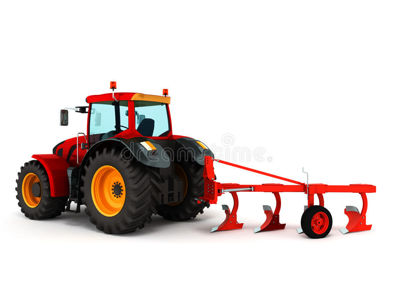 El tractor que ara 3d rojo rinde en el fondo blanco libre illustration