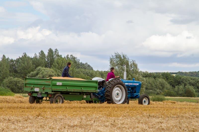 El tractor y el remolque viejos del vado 4000 del vintage en cosecha colocan foto de archivo