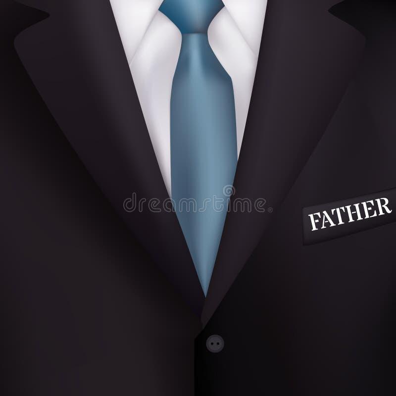 El traje de los hombres con los fondos del azul de un realismo del lazo-estilo para las invitaciones, para el día de padre del dí stock de ilustración