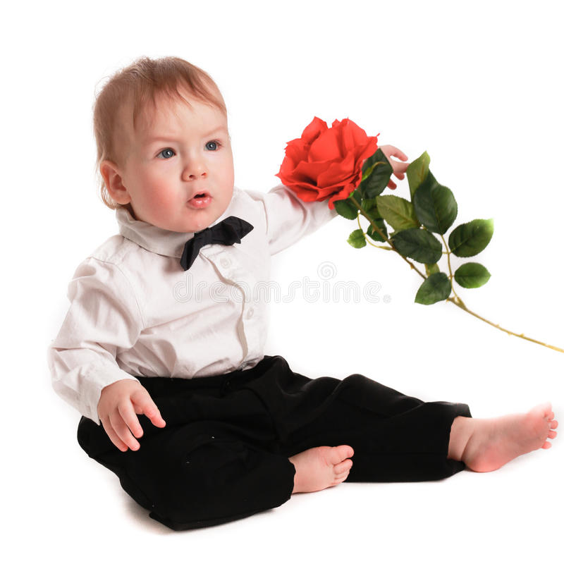 El traje del caballero del bebé y la mariposa del lazo con subieron fotografía de archivo libre de regalías