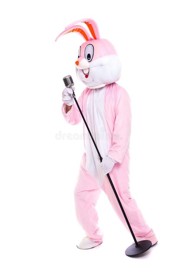 El traje del conejo o el conejito de pascua de tamaño natural canta en micrófono retro El cantante divertido del músico se divier imágenes de archivo libres de regalías