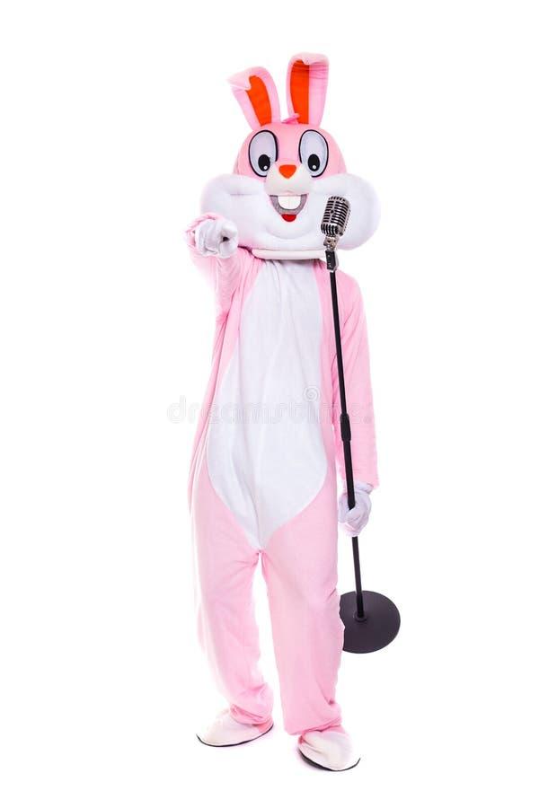 El traje del conejo o el conejito de pascua de tama?o natural canta en micr?fono retro El cantante divertido del m?sico se divier foto de archivo