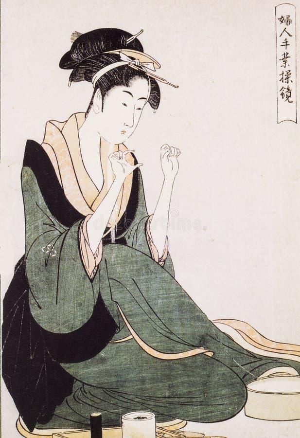 El traje tradicional de las mujeres japonesas foto de archivo libre de regalías