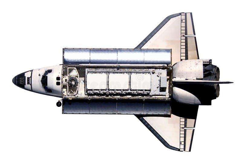 El transbordador espacial, con el a bordo por satélite, aislado en un fondo blanco Los elementos de esta imagen fueron suministra ilustración del vector