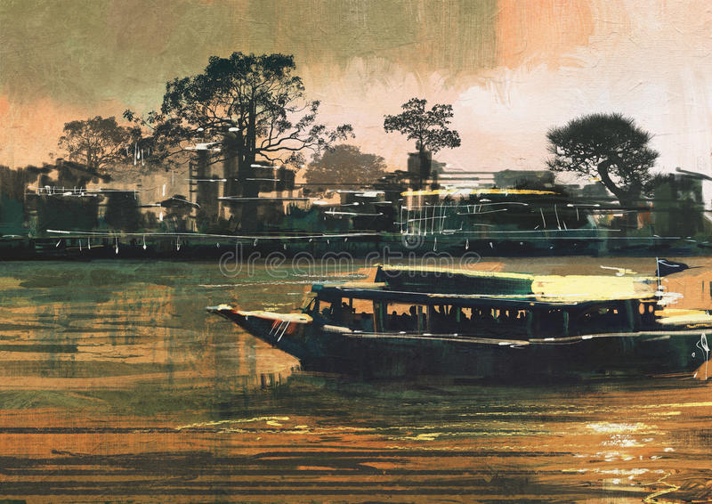 El transbordador lleva a pasajeros en el río libre illustration