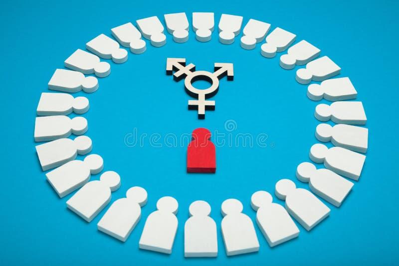 El transexual alcanza el fondo, determinaci?n Diversidad del g?nero, identidad bisexual androgyn imagenes de archivo