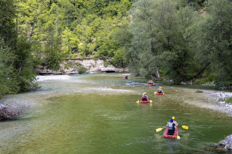 El transportar en balsa, Sava Bohinjka en el parque nacional de Triglav, Eslovenia imágenes de archivo libres de regalías
