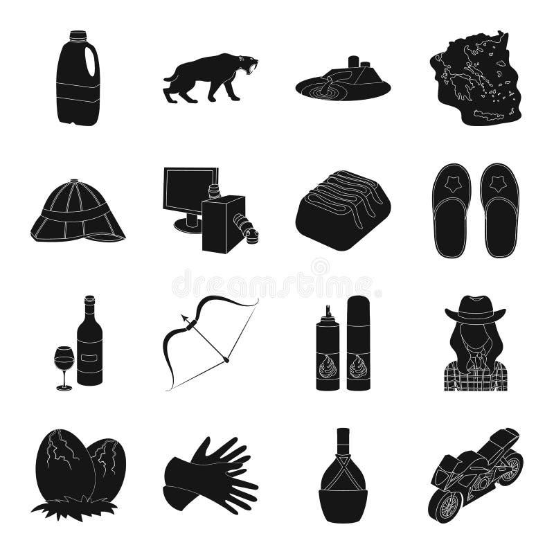 El transporte, el viaje, el desierto y el otro icono del web en estilo negro libre illustration