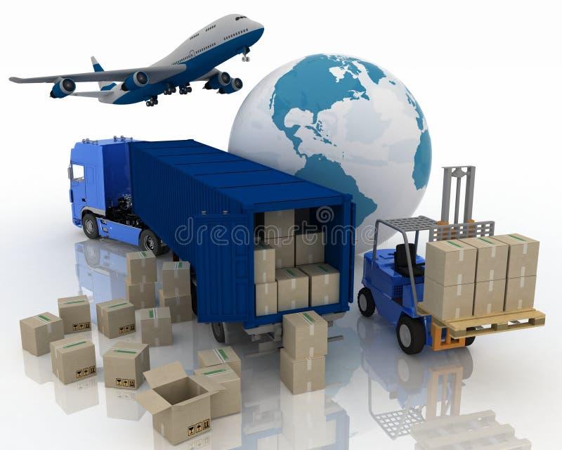 El transporte es cargas ilustración del vector