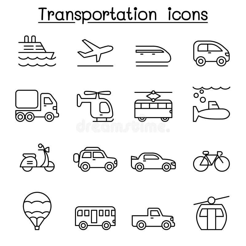 El transporte y el icono logístico fijaron en la línea estilo fina libre illustration