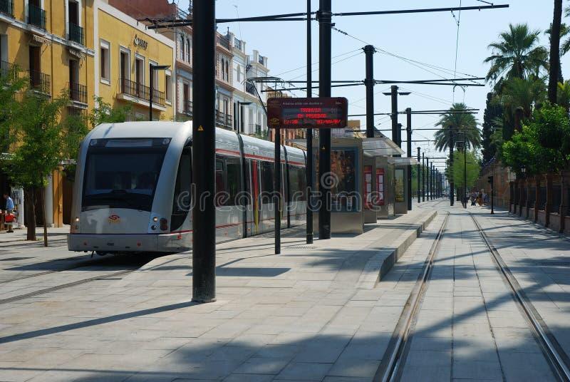 El tranvía en Sevilla fotografía de archivo libre de regalías