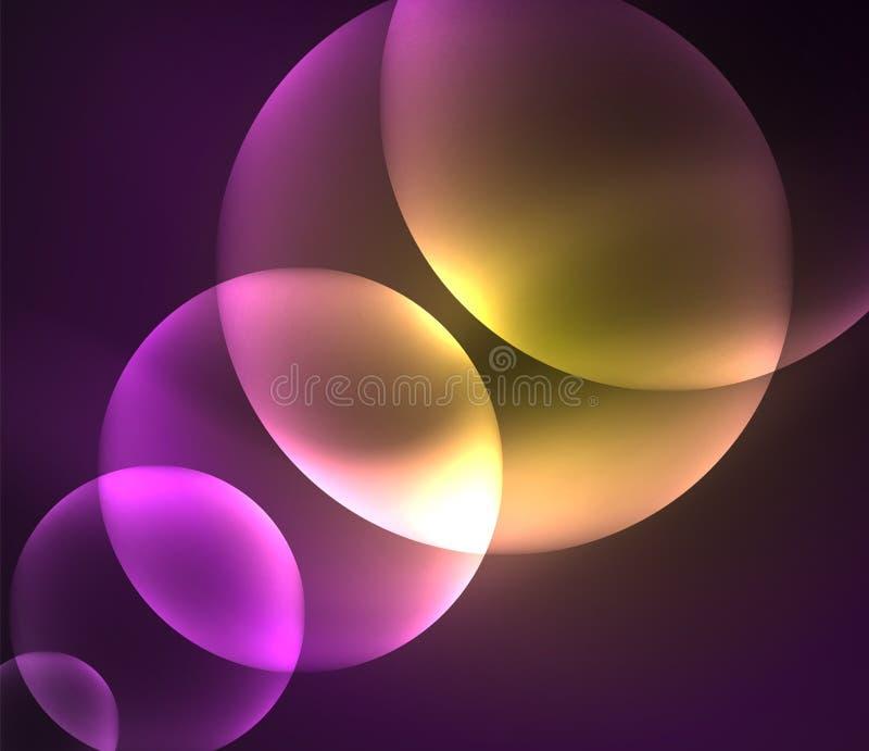 El traslapo brillante que brilla intensamente circunda la composición en fondo oscuro ilustración del vector