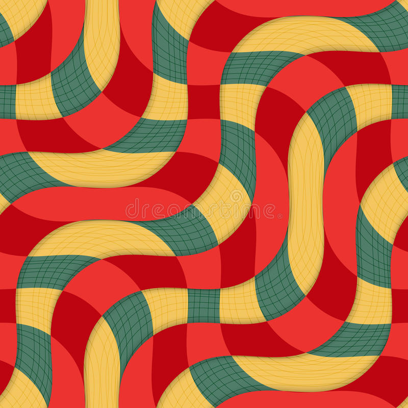 El traslapo rojo amarillo retro 3D agita con textura stock de ilustración