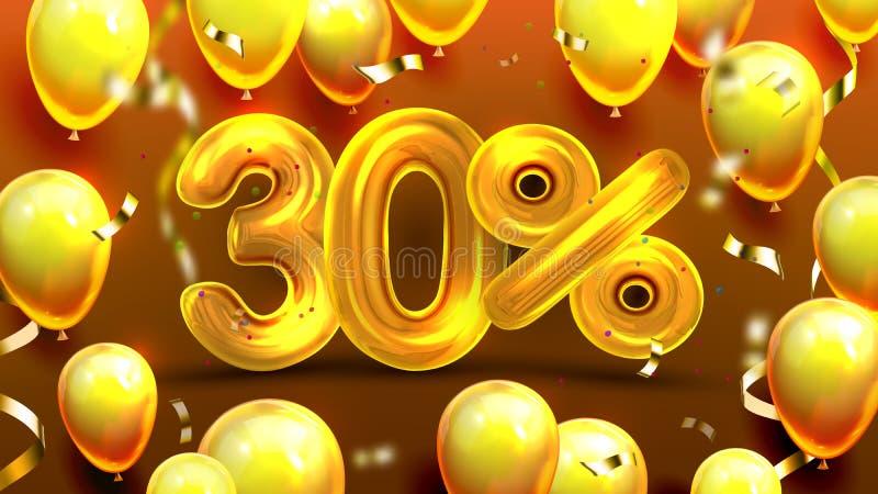 El treinta por ciento o vector de comercialización de la oferta 30 ilustración del vector