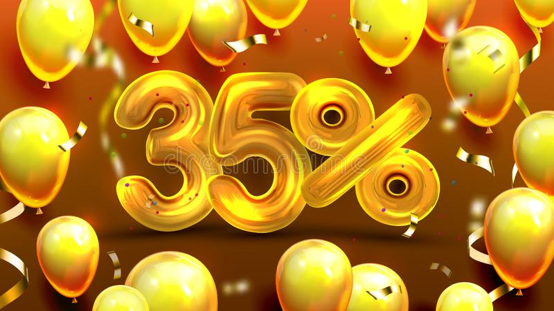 El treinta y cinco por ciento o vector de comercialización de la oferta 35 ilustración del vector