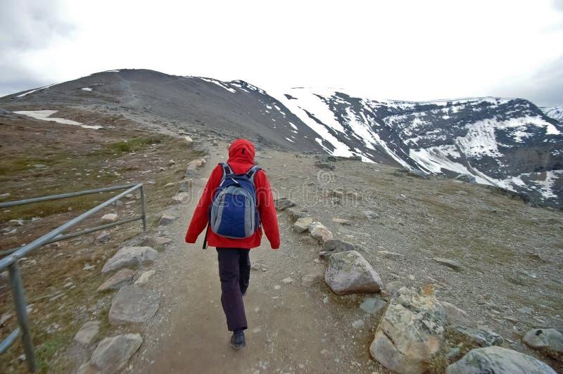 El Trekker camina al pico de montaña imagen de archivo