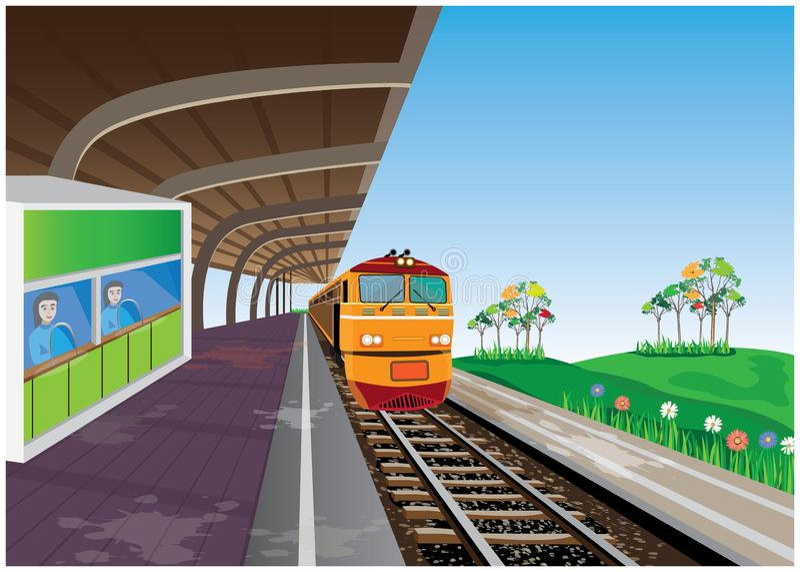 El tren amarillo ilustración del vector