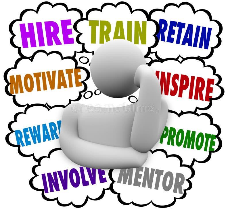 El tren del alquiler motiva la recompensa inspira conserva las nubes del pensamiento guarda el Em stock de ilustración
