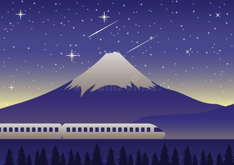 El tren funciona con el último monte Fuji en la señal famosa de la escena de la noche de Japa ilustración del vector