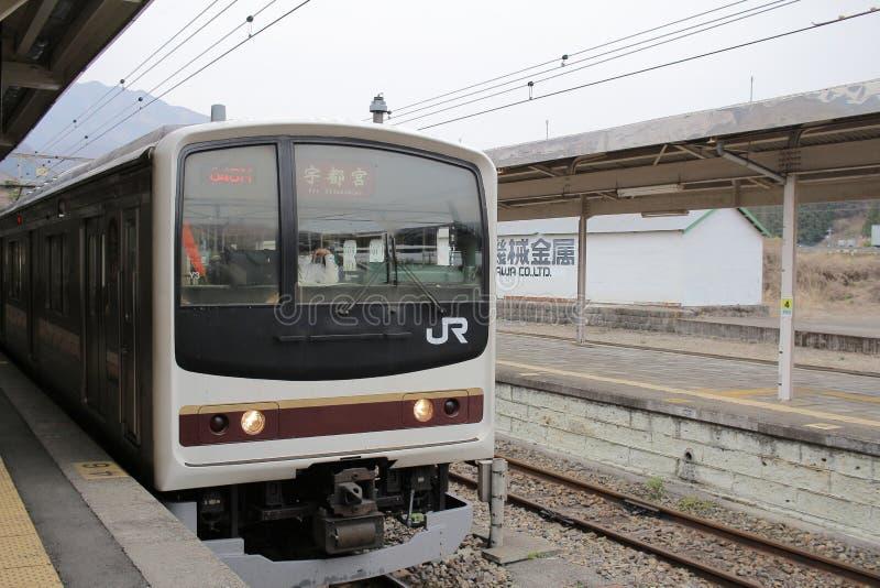 el tren llega la estación de tren de Nikko foto de archivo libre de regalías