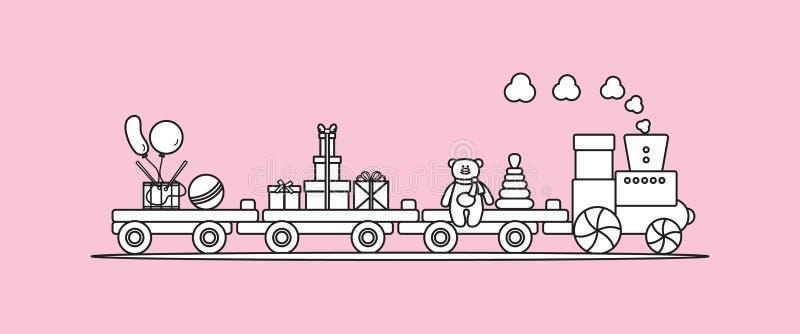 El tren lleva los juguetes Regalos por d?as de fiesta a los ni?os stock de ilustración