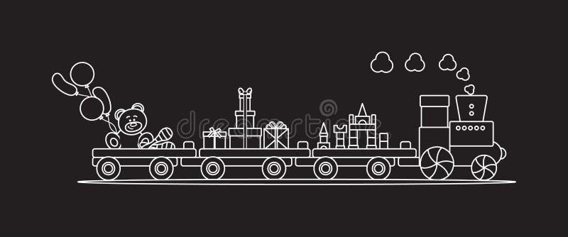 El tren lleva los juguetes Regalos por d?as de fiesta a los ni?os ilustración del vector
