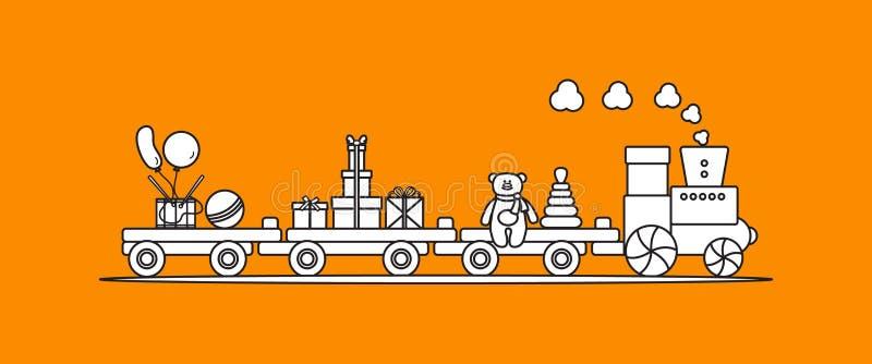 El tren lleva los juguetes Regalos por d?as de fiesta a los ni?os libre illustration