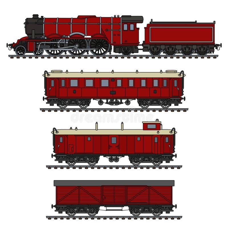 El tren rojo del vapor del vintage libre illustration