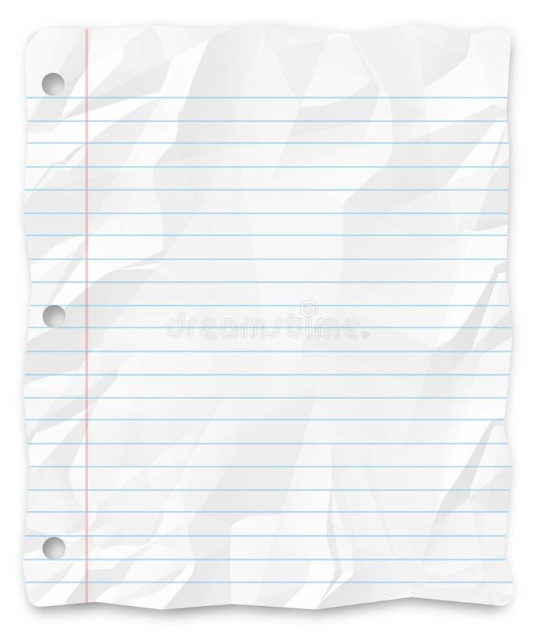 El Tres-Agujero alineado del papel de escribir del estudiante perforó imagen de archivo