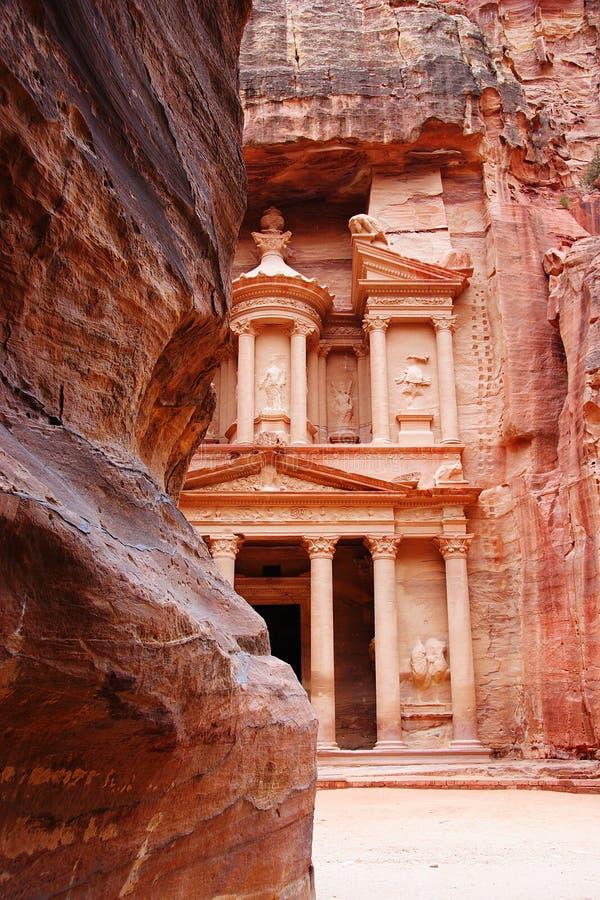 El Tresury del Siq, Petra, Jordania foto de archivo libre de regalías