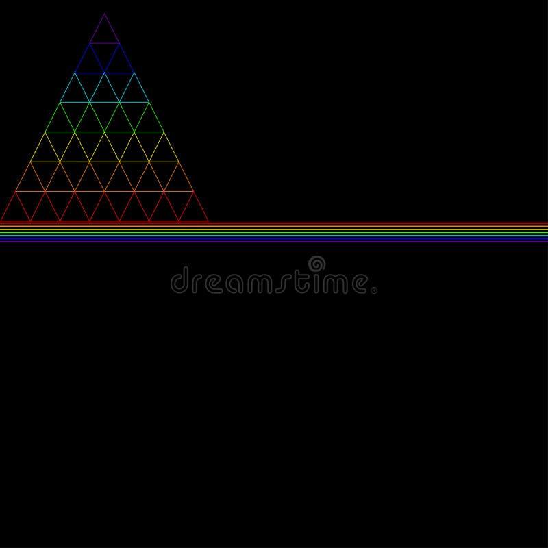 El triángulo del arco iris, consistiendo en muchos pequeños triángulos, consistiendo en el color stock de ilustración