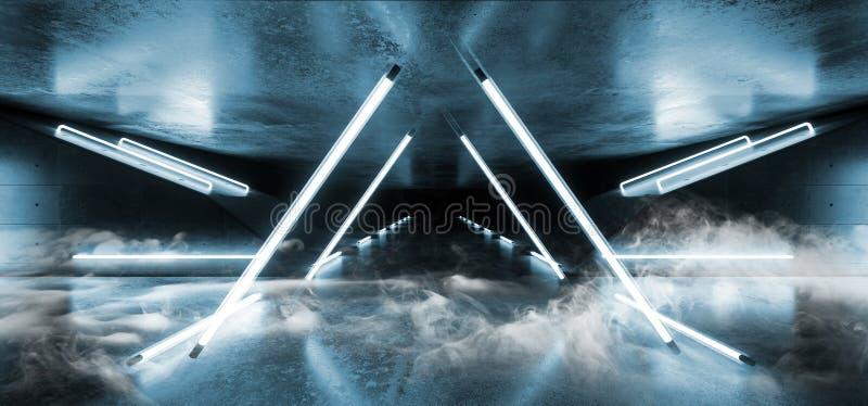 El triángulo luminoso fluorescente retro futurista vacío de Sci Fi del azul del humo formó el laser del tubo de neón llevó luces  ilustración del vector
