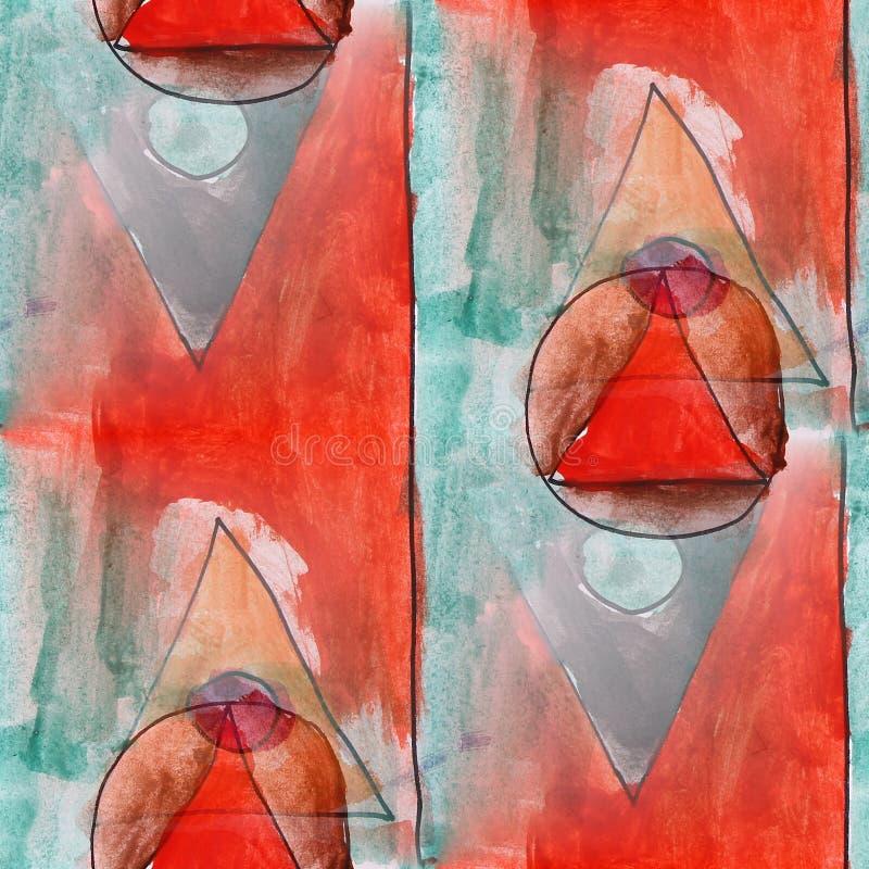 El triángulo moderno, circunda el tex inconsútil del papel pintado del artista de la acuarela libre illustration