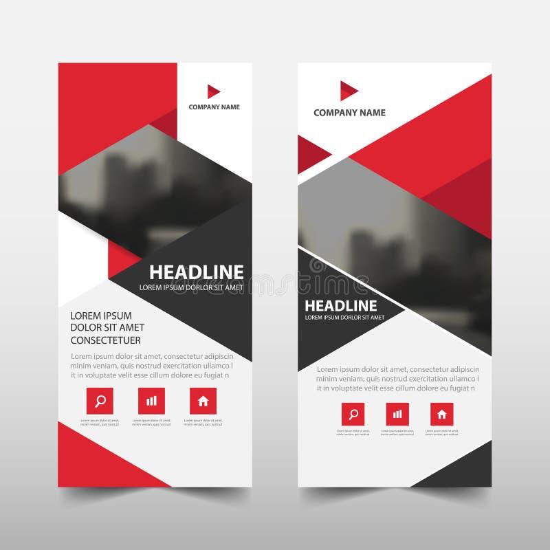 El triángulo rojo rueda para arriba diseño de la bandera del aviador del folleto del negocio, stock de ilustración