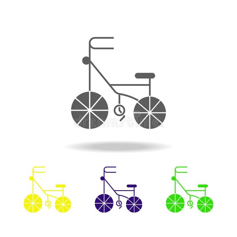 el triciclo coloreó iconos Elemento de juguetes Puede ser utilizado para la web, logotipo, app móvil, UI, UX stock de ilustración