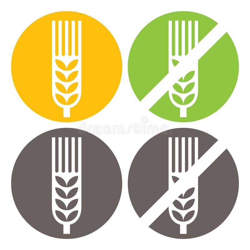 El trigo y el gluten liberan muestras stock de ilustración