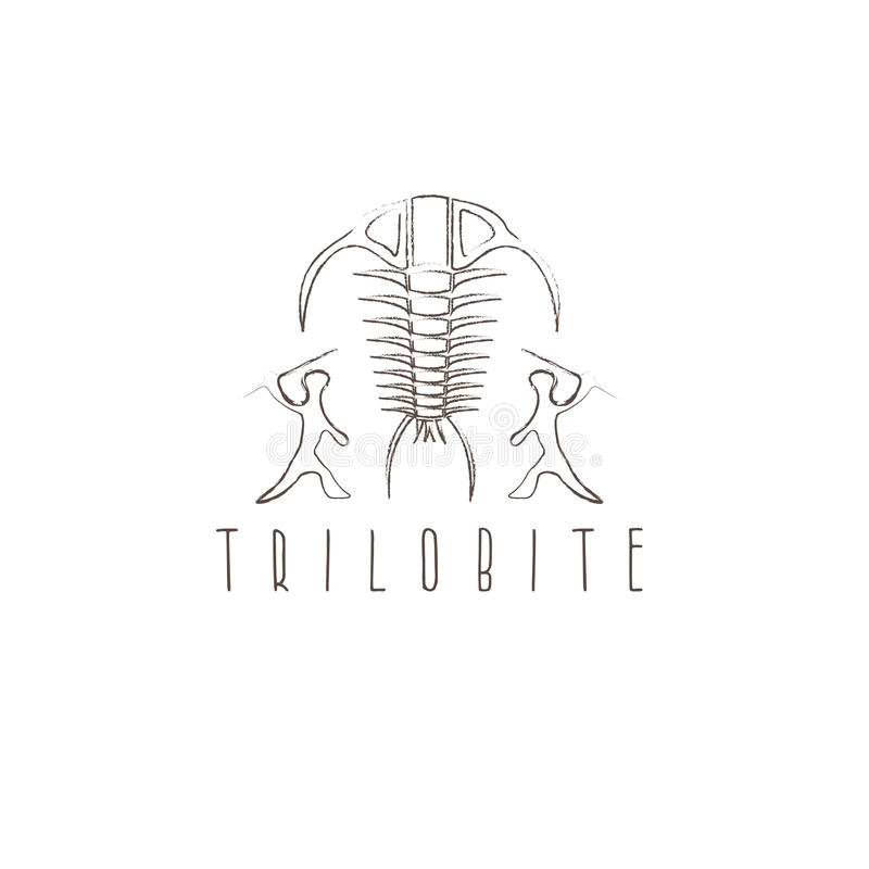 El trilobite fósil del artrópodo y el vector antiguo de los cazadores diseñan stock de ilustración