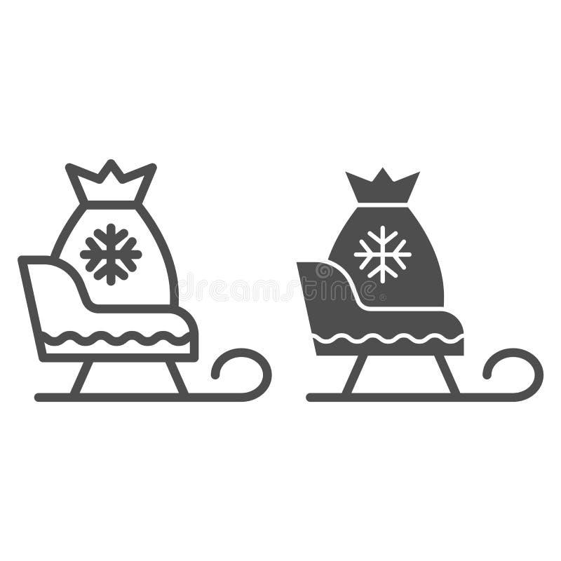 El trineo de Papá Noel con los regalos alinea y el icono del glyph Ejemplo del vector del trineo de la Navidad aislado en blanco  stock de ilustración