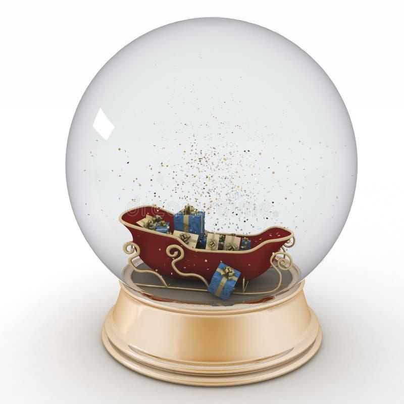 El trineo de Papá Noel con los regalos de la Navidad dentro de una bola de la nieve stock de ilustración