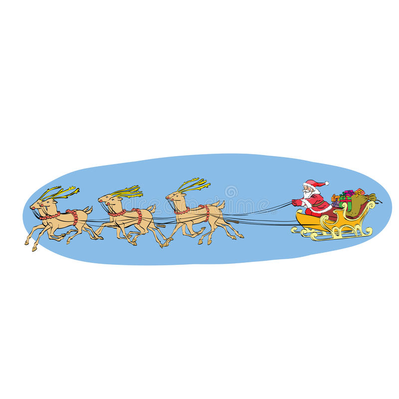 El trineo del reno lleva a Santa Claus en un trineo Navidad ilustración del vector
