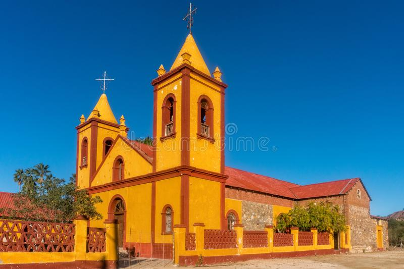 El Triunfo Church in Baja California Sur Mexico. El Triunfo Historical orange Church in Baja California Sur Mexico stock image