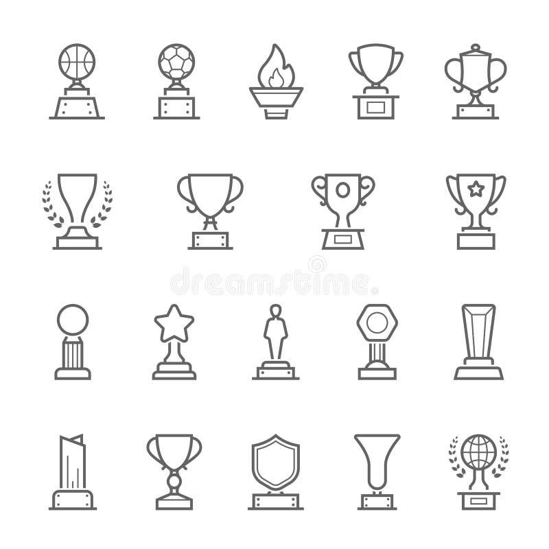 El trofeo concede los iconos del movimiento del esquema fijados ilustración del vector