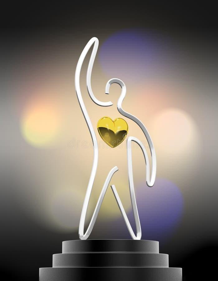 El trofeo del ganador del corazón fotografía de archivo